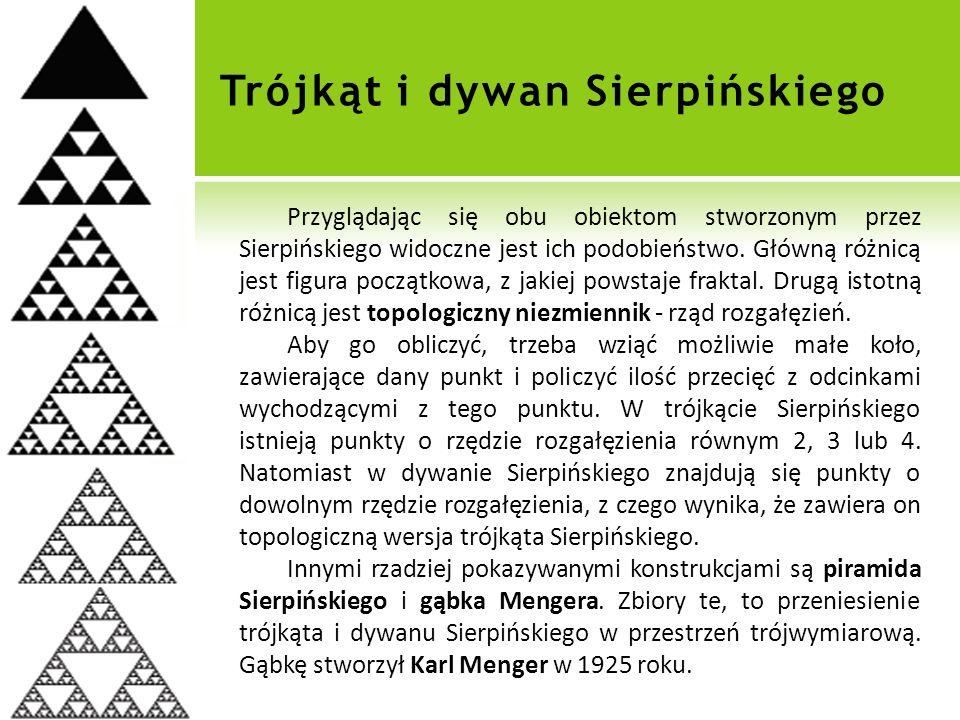 Trójkąt i dywan Sierpińskiego Przyglądając się obu obiektom stworzonym przez Sierpińskiego widoczne jest ich podobieństwo.