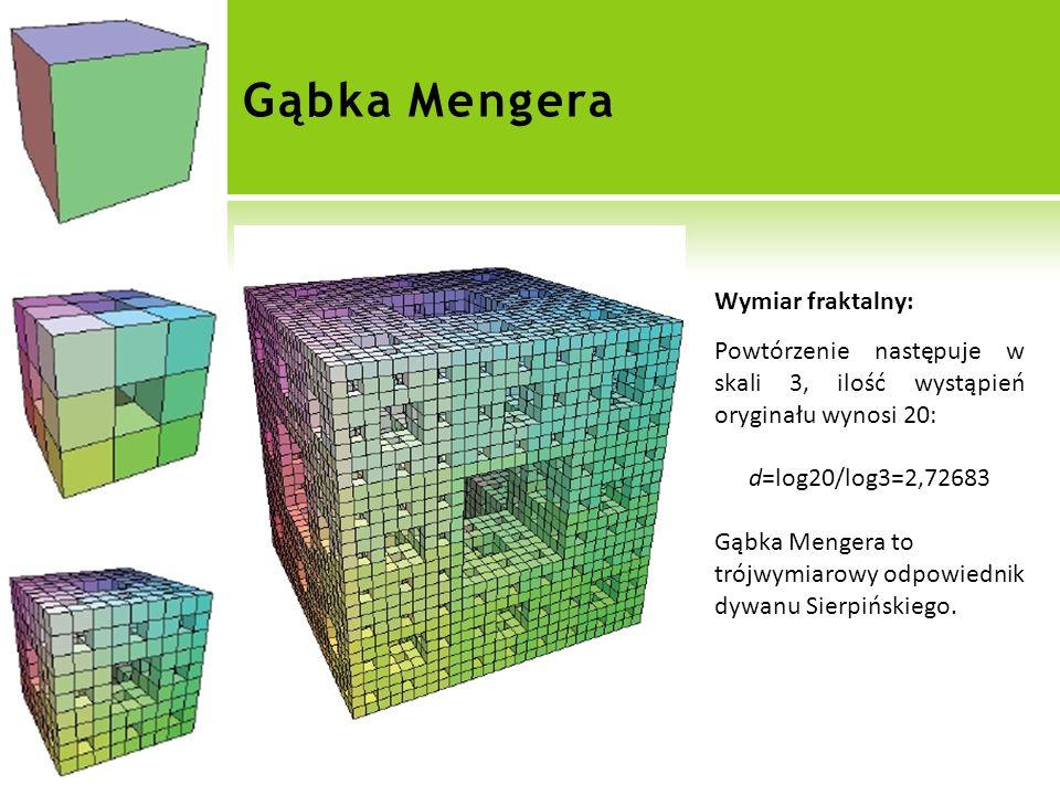 Gąbka Mengera Wymiar fraktalny: Powtórzenie następuje w skali 3, ilość wystąpień oryginału wynosi 20: d=log20/log3=2,72683 Gąbka Mengera to trójwymiarowy odpowiednik dywanu Sierpińskiego.