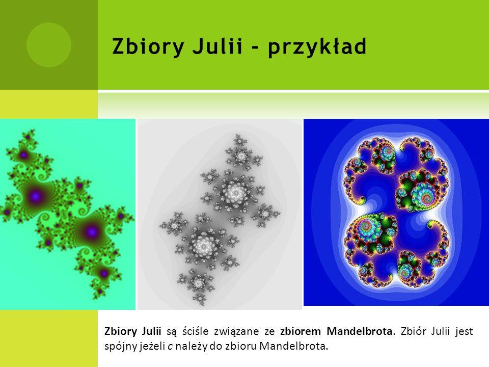 Zbiory Julii - przykład Zbiory Julii są ściśle związane ze zbiorem Mandelbrota.