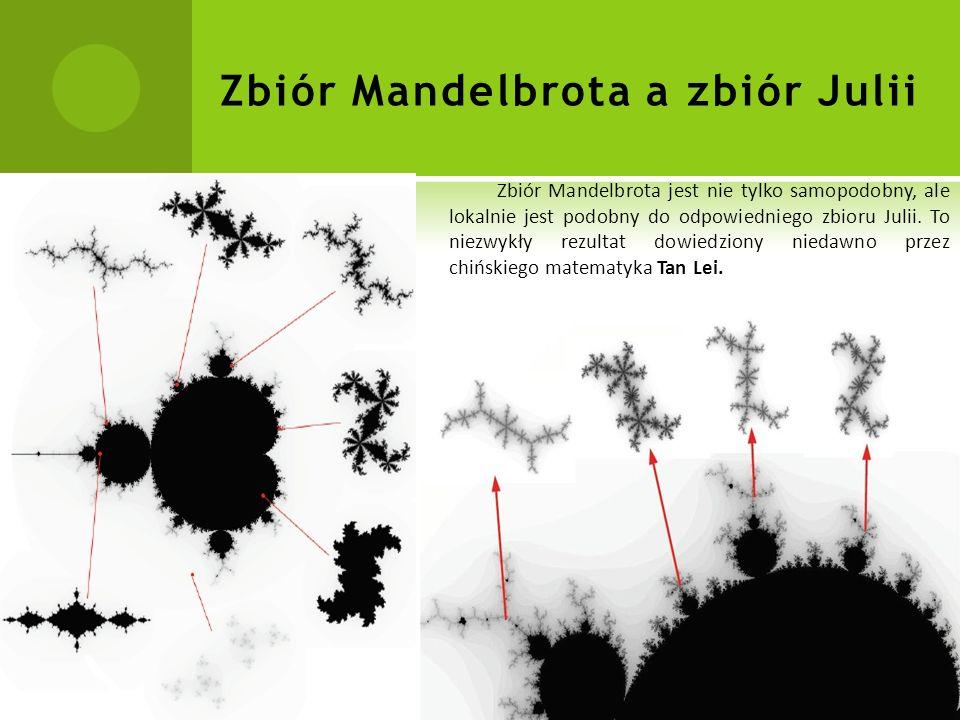 Zbiór Mandelbrota a zbiór Julii Zbiór Mandelbrota jest nie tylko samopodobny, ale lokalnie jest podobny do odpowiedniego zbioru Julii.