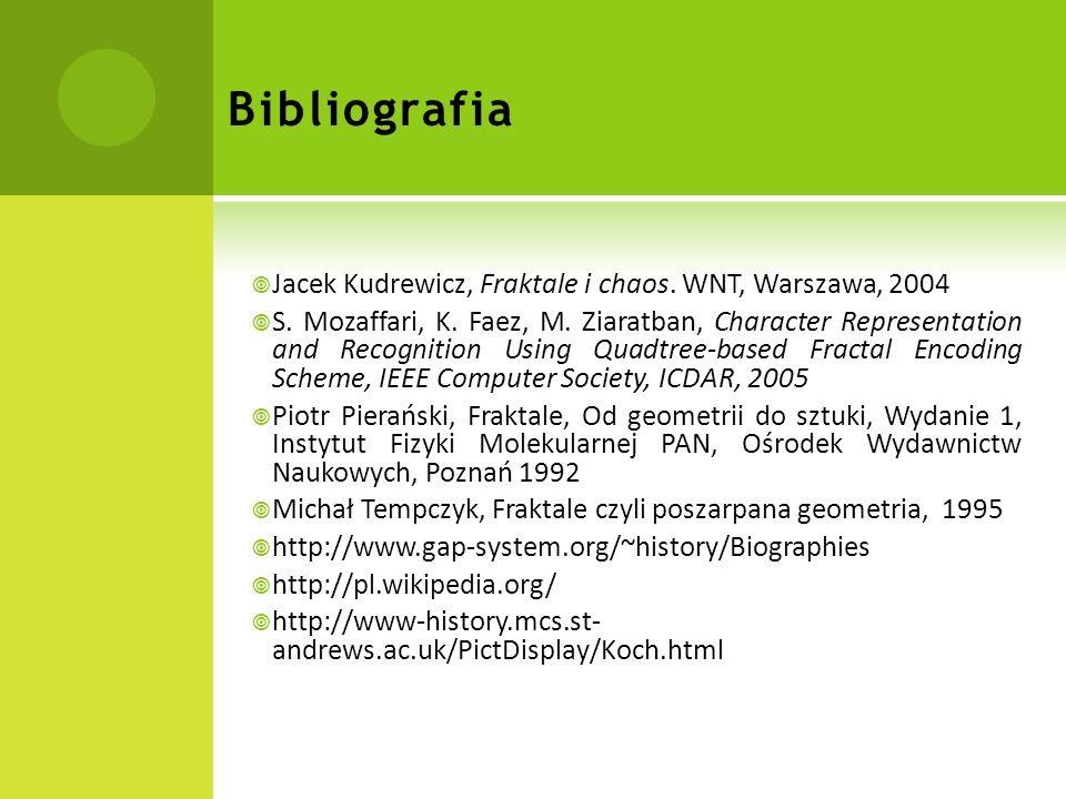 Bibliografia Jacek Kudrewicz, Fraktale i chaos.WNT, Warszawa, 2004 S.