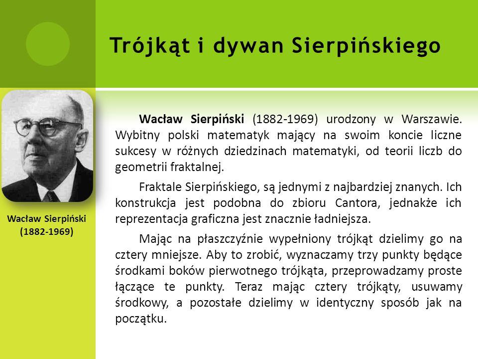 Trójkąt i dywan Sierpińskiego Wacław Sierpiński (1882-1969) urodzony w Warszawie.
