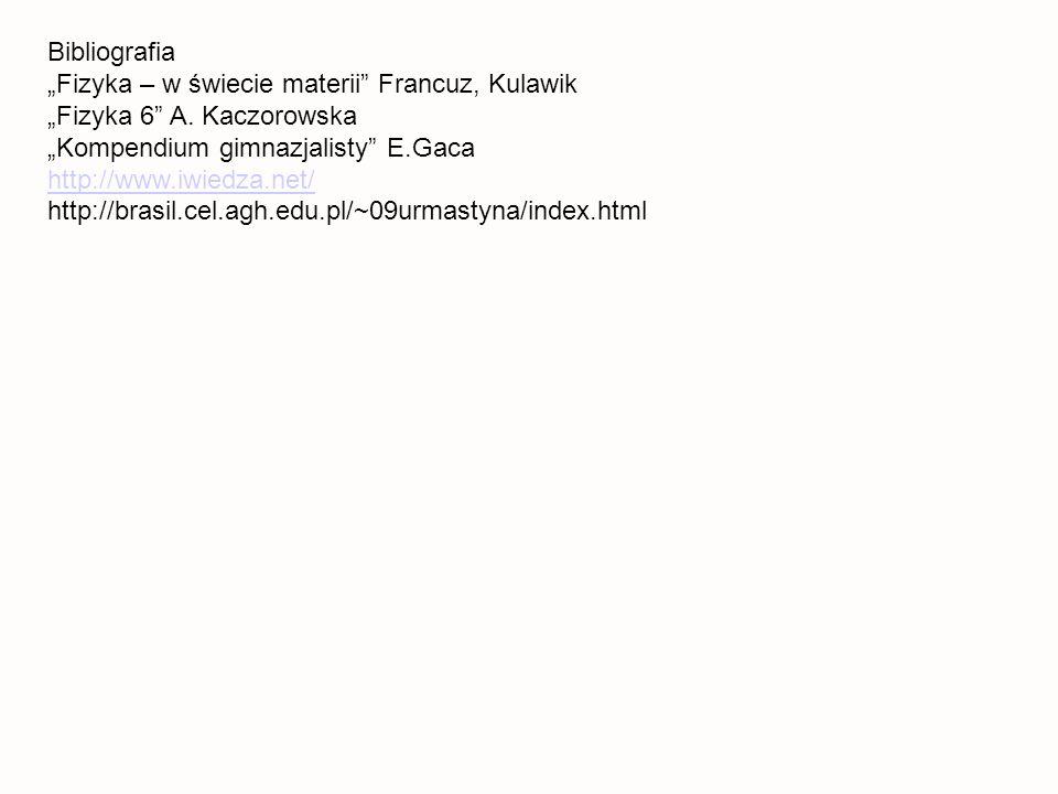 Bibliografia Fizyka – w świecie materii Francuz, Kulawik Fizyka 6 A.