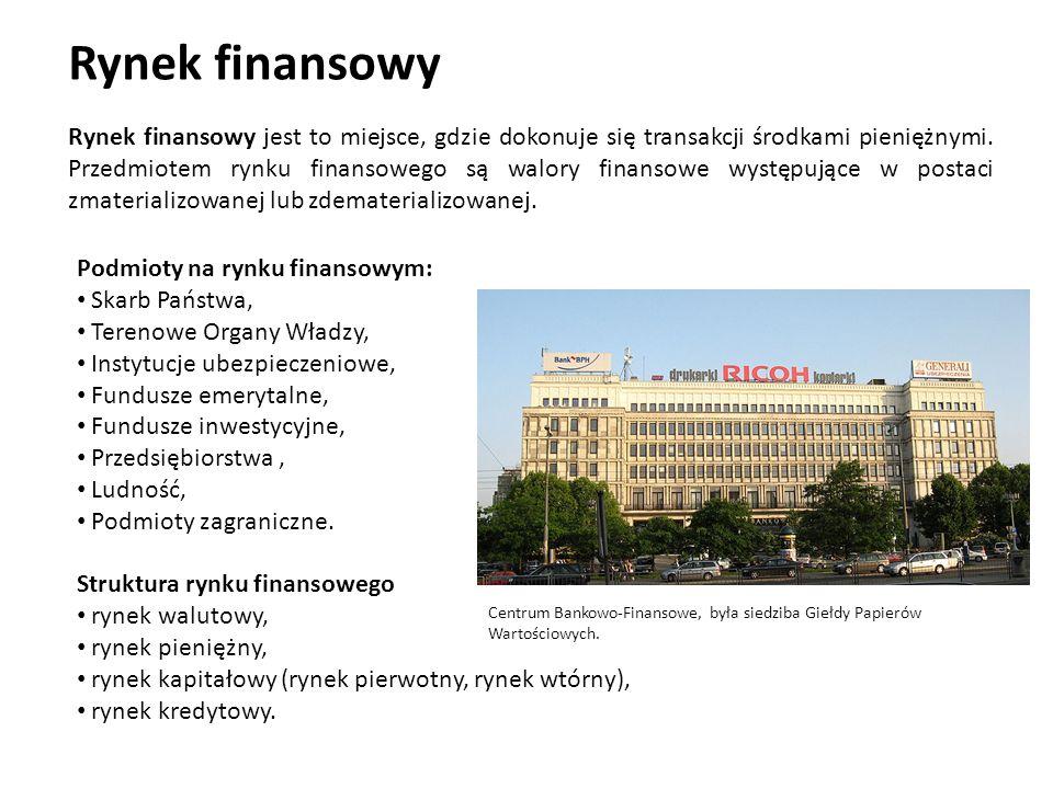 Rynek finansowy Rynek finansowy jest to miejsce, gdzie dokonuje się transakcji środkami pieniężnymi. Przedmiotem rynku finansowego są walory finansowe