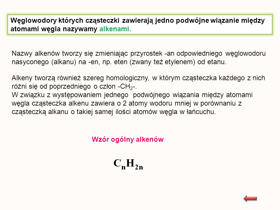 Nazwy alkenów tworzy się zmieniając przyrostek -an odpowiedniego węglowodoru nasyconego (alkanu) na -en, np. eten (zwany też etylenem) od etanu. Alken