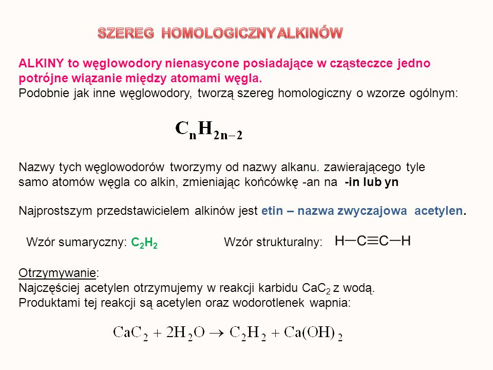 ALKINY to węglowodory nienasycone posiadające w cząsteczce jedno potrójne wiązanie między atomami węgla. Podobnie jak inne węglowodory, tworzą szereg