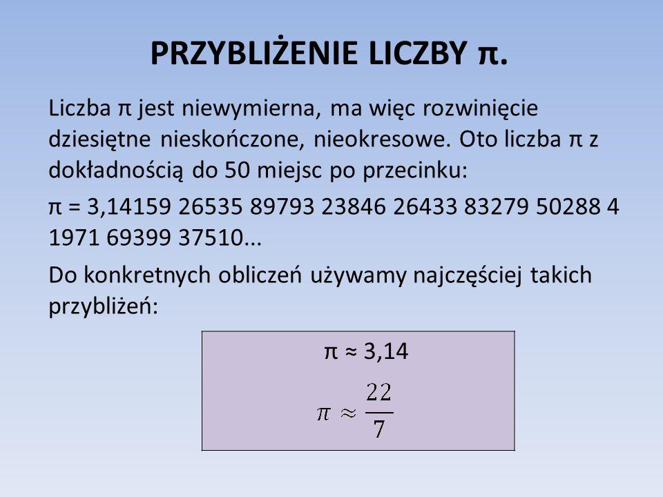 PRZYBLIŻENIE LICZBY π. Liczba π jest niewymierna, ma więc rozwinięcie dziesiętne nieskończone, nieokresowe. Oto liczba π z dokładnością do 50 miejsc p