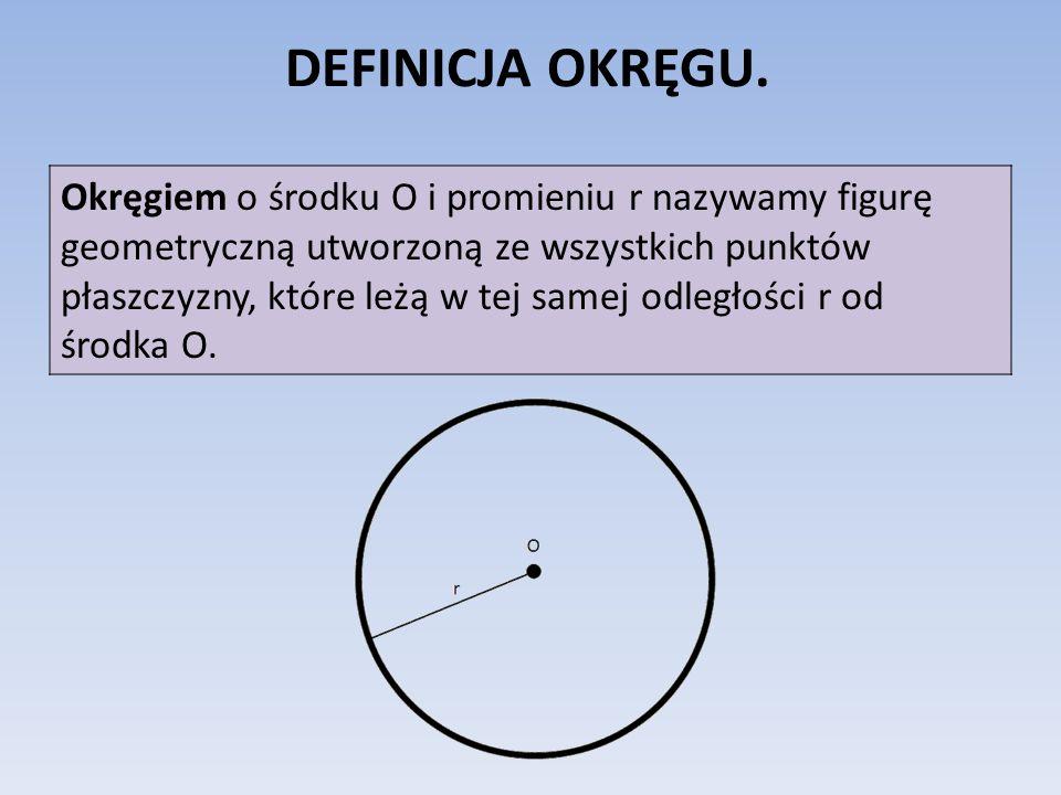 DEFINICJA OKRĘGU. Okręgiem o środku O i promieniu r nazywamy figurę geometryczną utworzoną ze wszystkich punktów płaszczyzny, które leżą w tej samej o