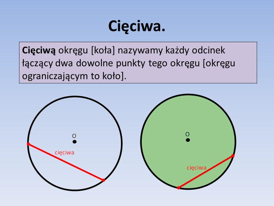 Cięciwa. Cięciwą okręgu [koła] nazywamy każdy odcinek łączący dwa dowolne punkty tego okręgu [okręgu ograniczającym to koło].