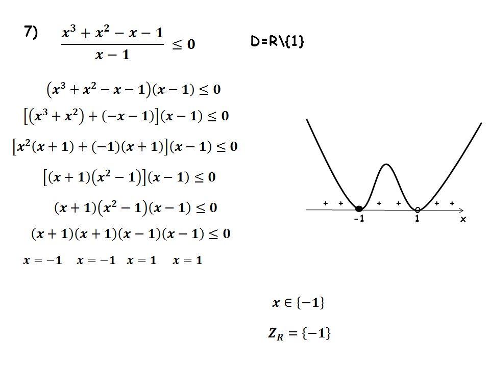7) 1 + + x D=R\{1} o ++++