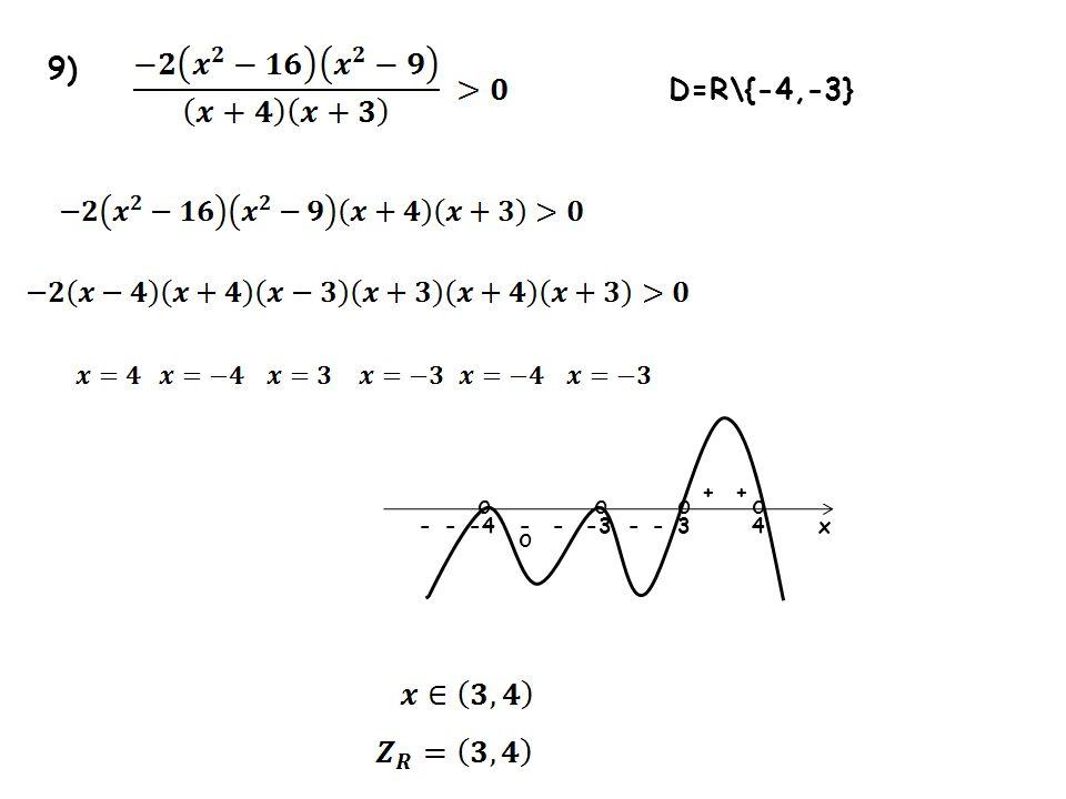 9) -33---4-4 ++ x--- o oo D=R\{-4,-3} oo