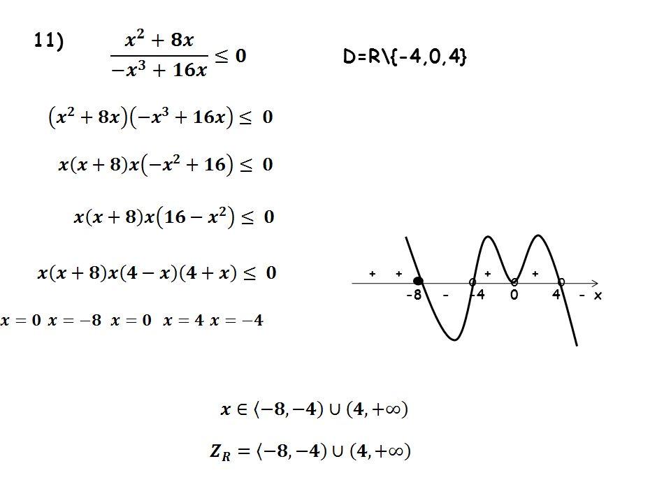 11) 0-8x oo ++++ -- D=R\{-4,0,4} o -44