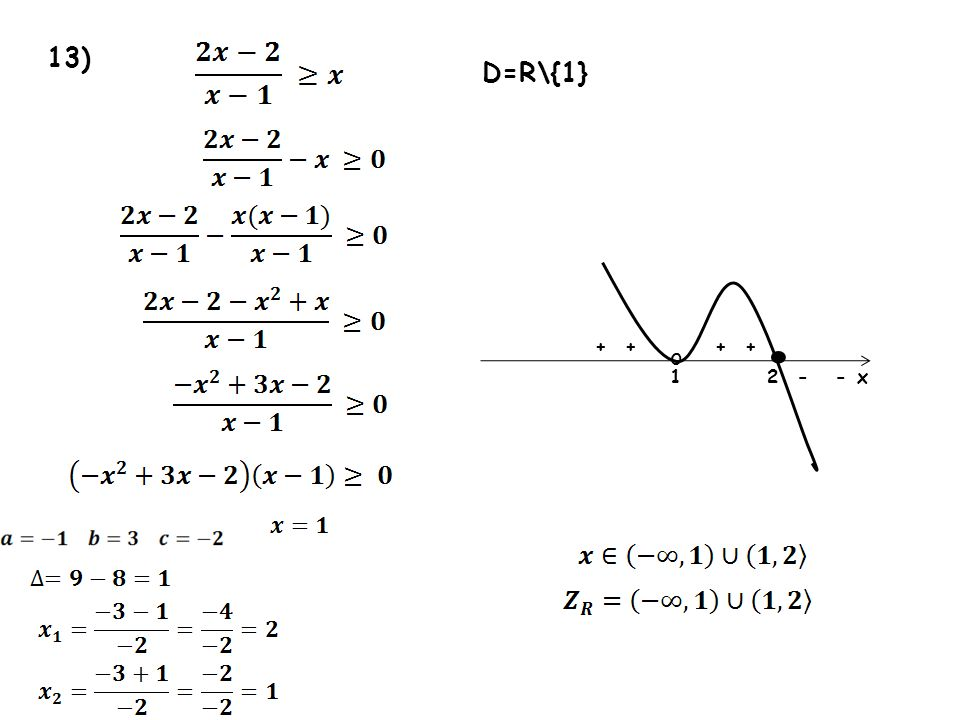 13) 12 ++ - + x o - + D=R\{1}