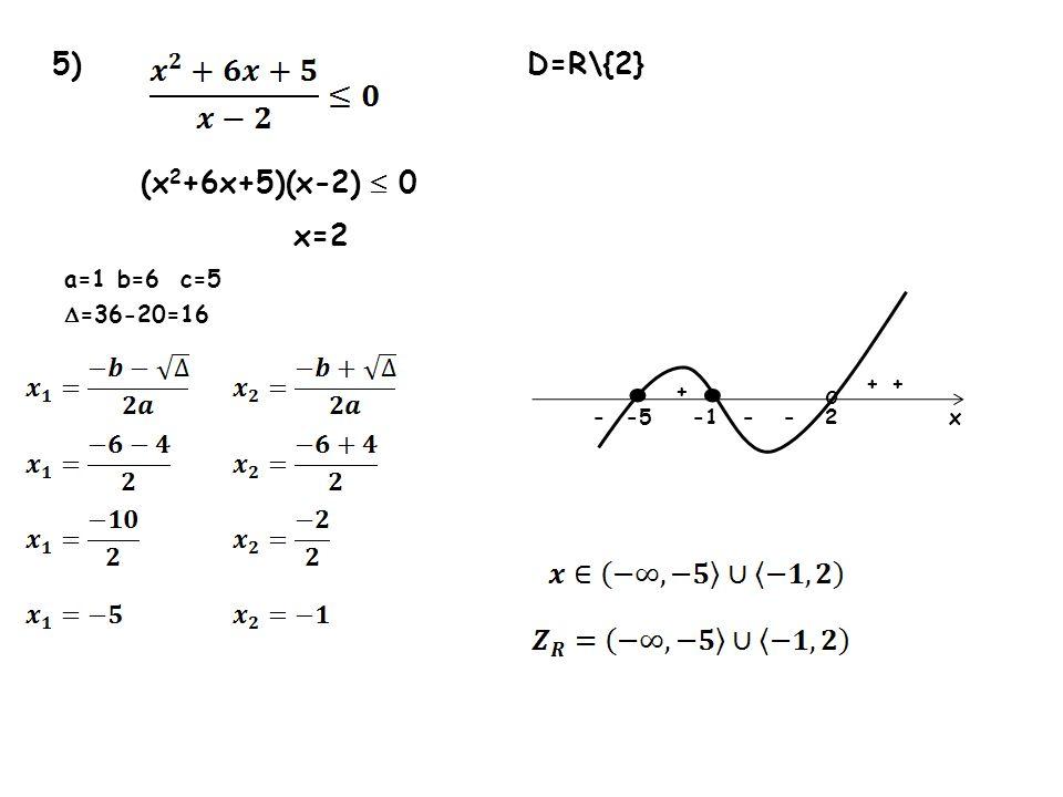 5) D=R\{2} (x 2 +6x+5)(x-2) 0 x=2 a=1 b=6 c=5 =36-20=16 2-5 + ---x o + +