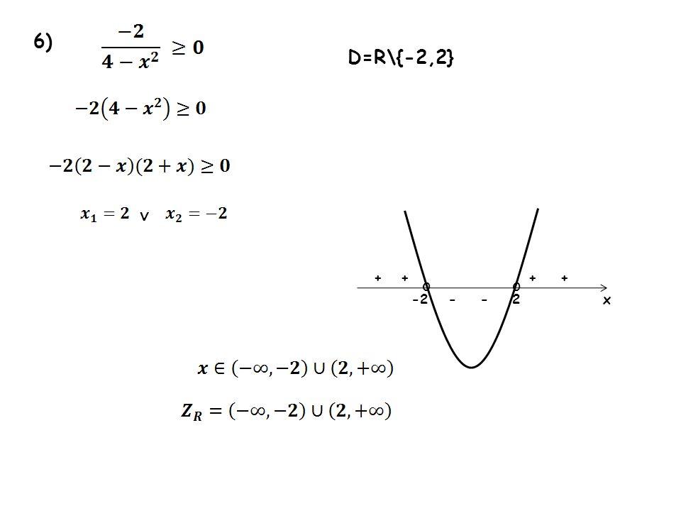 6) 2-2x oo ++++ -- D=R\{-2,2}