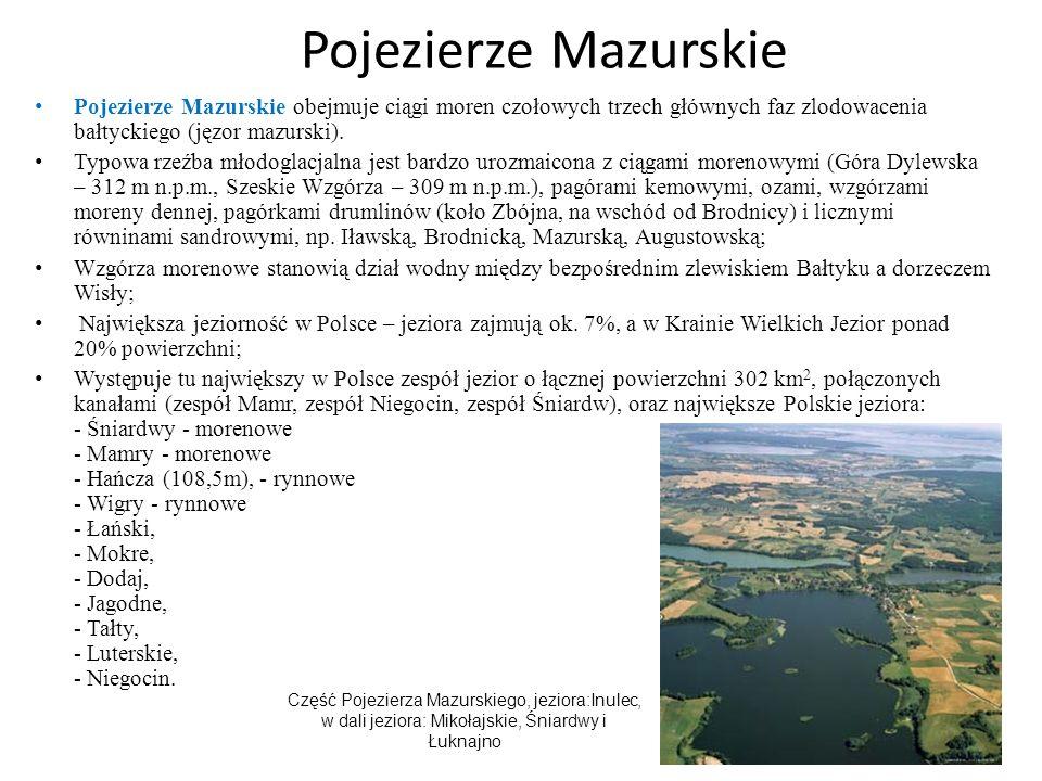 Pojezierze Mazurskie Pojezierze Mazurskie obejmuje ciągi moren czołowych trzech głównych faz zlodowacenia bałtyckiego (jęzor mazurski). Typowa rzeźba