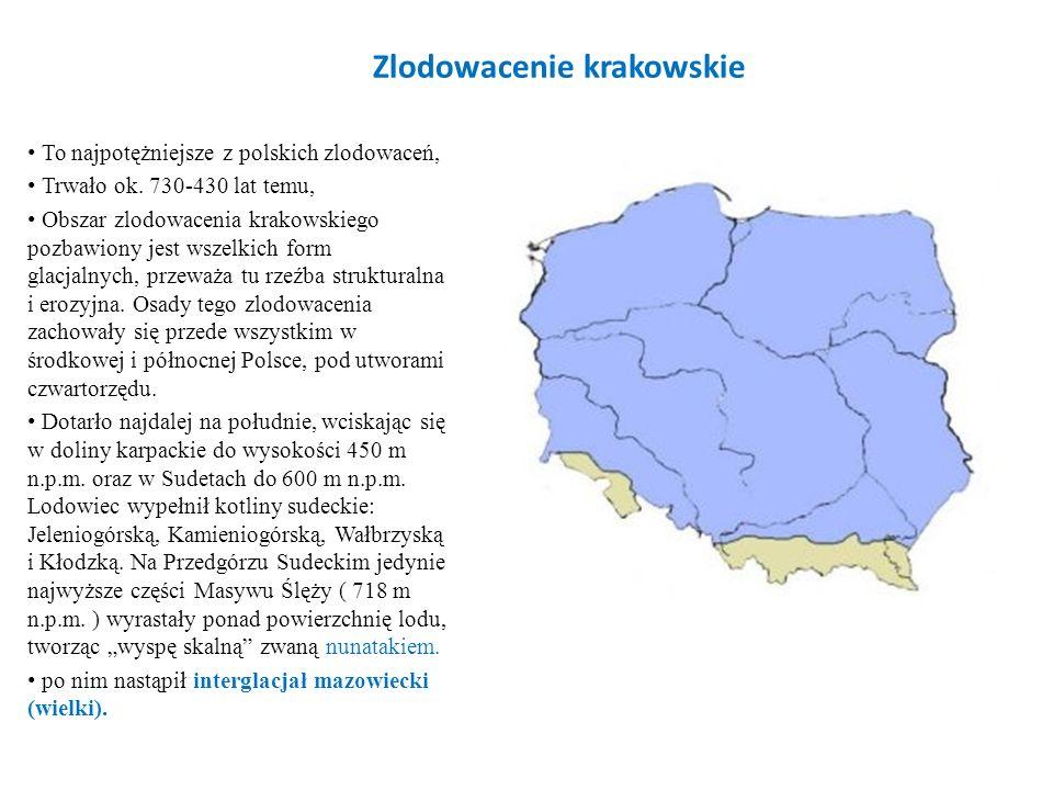 Zlodowacenie krakowskie To najpotężniejsze z polskich zlodowaceń, Trwało ok. 730-430 lat temu, Obszar zlodowacenia krakowskiego pozbawiony jest wszelk