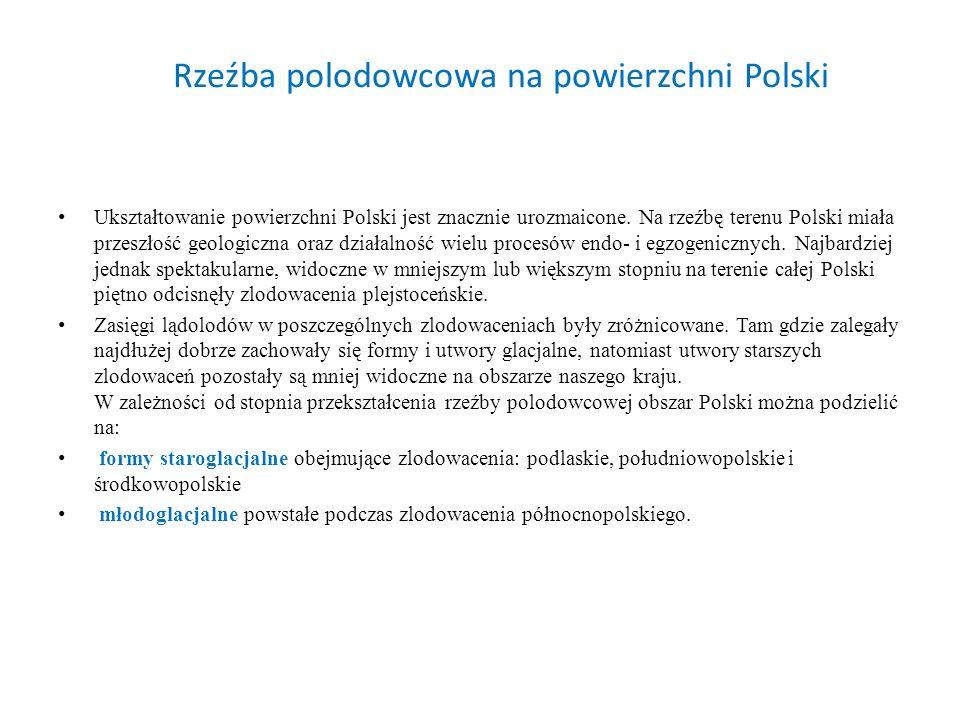 Rzeźba polodowcowa na powierzchni Polski Ukształtowanie powierzchni Polski jest znacznie urozmaicone. Na rzeźbę terenu Polski miała przeszłość geologi