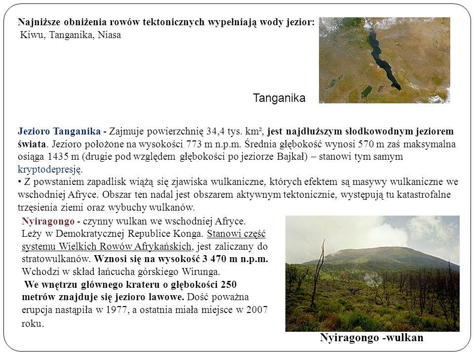 Najniższe obniżenia rowów tektonicznych wypełniają wody jezior: Kiwu, Tanganika, Niasa Jezioro Tanganika - Zajmuje powierzchnię 34,4 tys. km², jest na