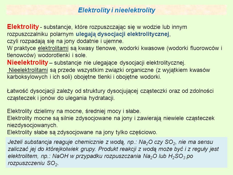 Elektrolity i nieelektrolity Elektrolity - substancje, które rozpuszczając się w wodzie lub innym rozpuszczalniku polarnym ulegają dysocjacji elektrolitycznej, czyli rozpadają się na jony dodatnie i ujemne.