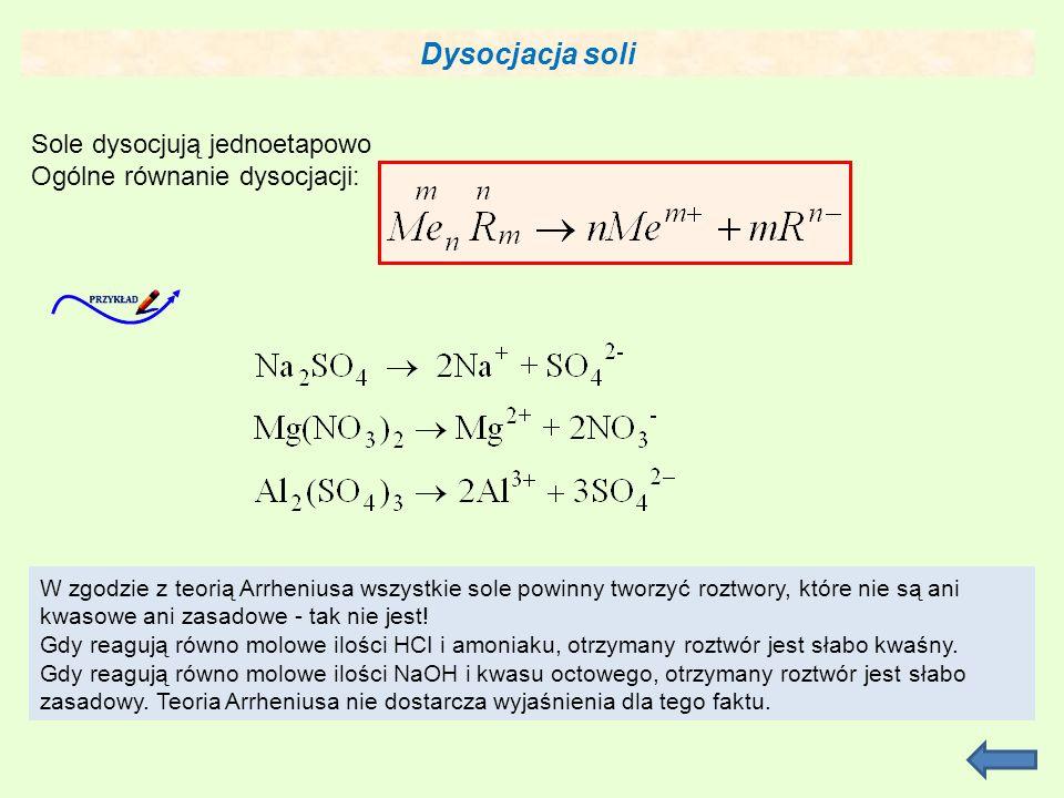 Dysocjacja soli Sole dysocjują jednoetapowo Ogólne równanie dysocjacji: W zgodzie z teorią Arrheniusa wszystkie sole powinny tworzyć roztwory, które nie są ani kwasowe ani zasadowe - tak nie jest.