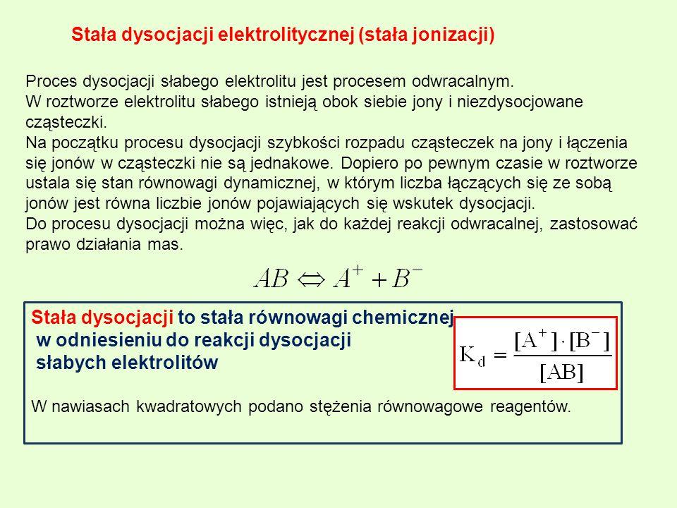 Stała dysocjacji elektrolitycznej (stała jonizacji) Proces dysocjacji słabego elektrolitu jest procesem odwracalnym. W roztworze elektrolitu słabego i