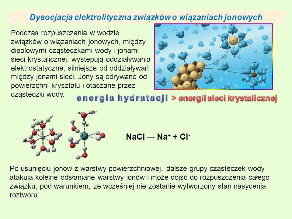 Dysocjacja elektrolityczna związków o wiązaniach jonowych Podczas rozpuszczania w wodzie związków o wiązaniach jonowych, między dipolowymi cząsteczkami wody i jonami sieci krystalicznej, występują oddziaływania elektrostatyczne, silniejsze od oddziaływań między jonami sieci.