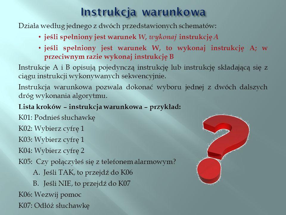 Działa według jednego z dwóch przedstawionych schematów: jeśli spełniony jest warunek W, wykonaj instrukcję A jeśli spełniony jest warunek W, to wykon