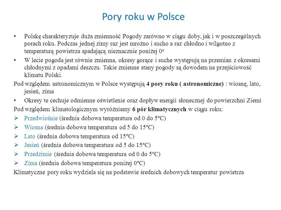 Pory roku w Polsce Polskę charakteryzuje duża zmienność Pogody zarówno w ciągu doby, jak i w poszczególnych porach roku. Podczas jednej zimy raz jest