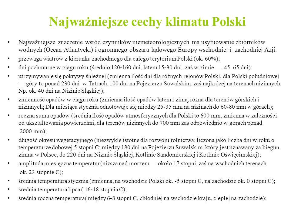 Najważniejsze cechy klimatu Polski Najważniejsze znaczenie wśród czynników niemeteorologicznych ma usytuowanie zbiorników wodnych (Ocean Atlantycki) i