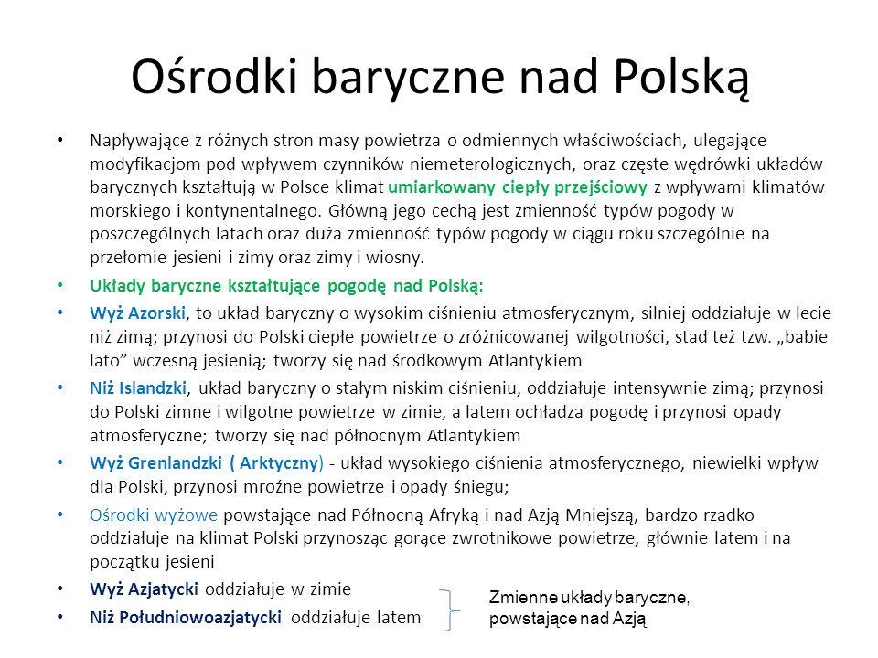 Ośrodki baryczne nad Polską Napływające z różnych stron masy powietrza o odmiennych właściwościach, ulegające modyfikacjom pod wpływem czynników nieme