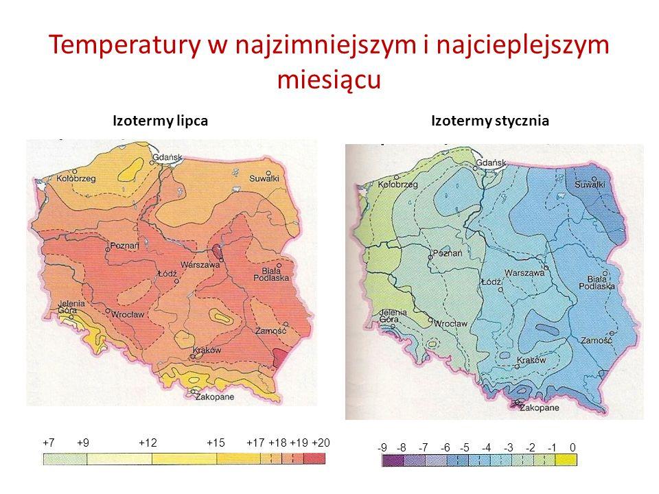 Temperatury w najzimniejszym i najcieplejszym miesiącu Izotermy styczniaIzotermy lipca +7 +9 +12 +15 +17 +18 +19 +20 -9 -8 -7 -6 -5 -4 -3 -2 -1 0
