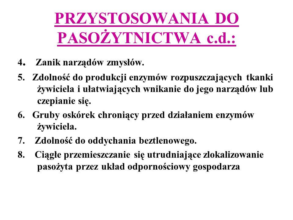 PRZYSTOSOWANIA DO PASOŻYTNICTWA c.d.: 4.Zanik narządów zmysłów.
