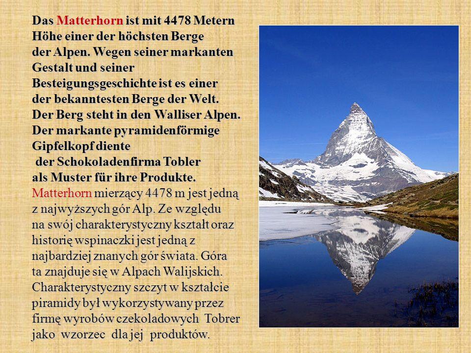 Das Matterhorn ist mit 4478 Metern Höhe einer der höchsten Berge der Alpen. Wegen seiner markanten Gestalt und seiner Besteigungsgeschichte ist es ein
