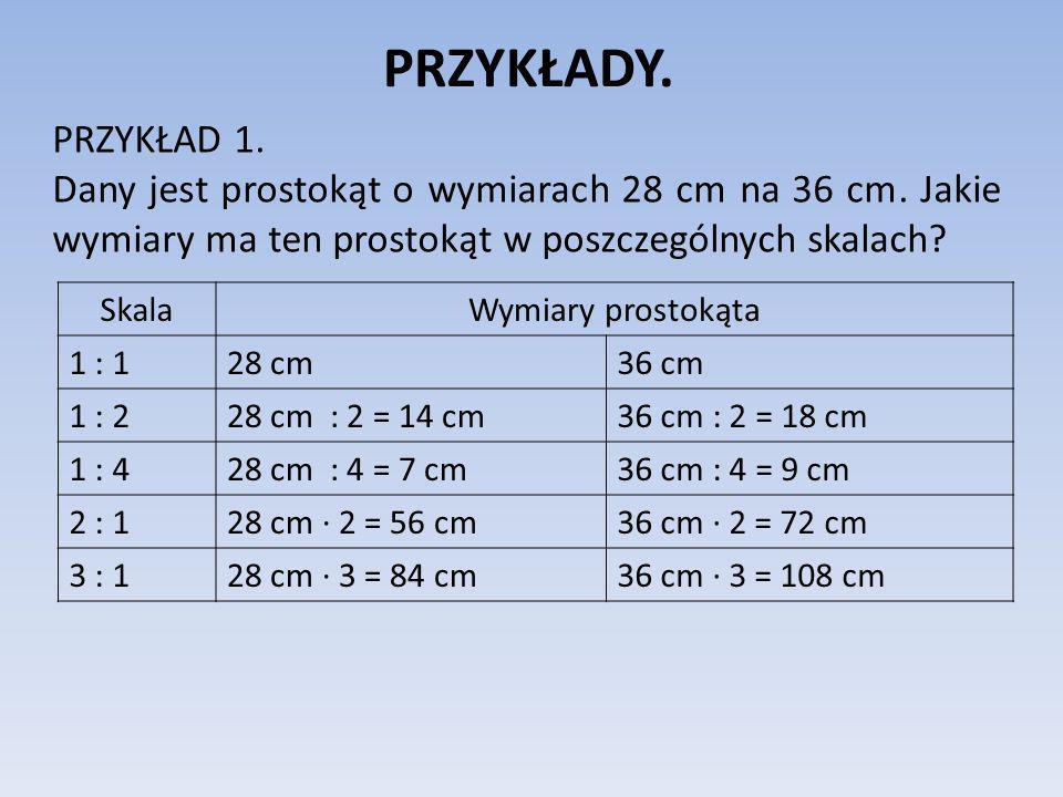 PRZYKŁADY. PRZYKŁAD 1. Dany jest prostokąt o wymiarach 28 cm na 36 cm. Jakie wymiary ma ten prostokąt w poszczególnych skalach? SkalaWymiary prostokąt