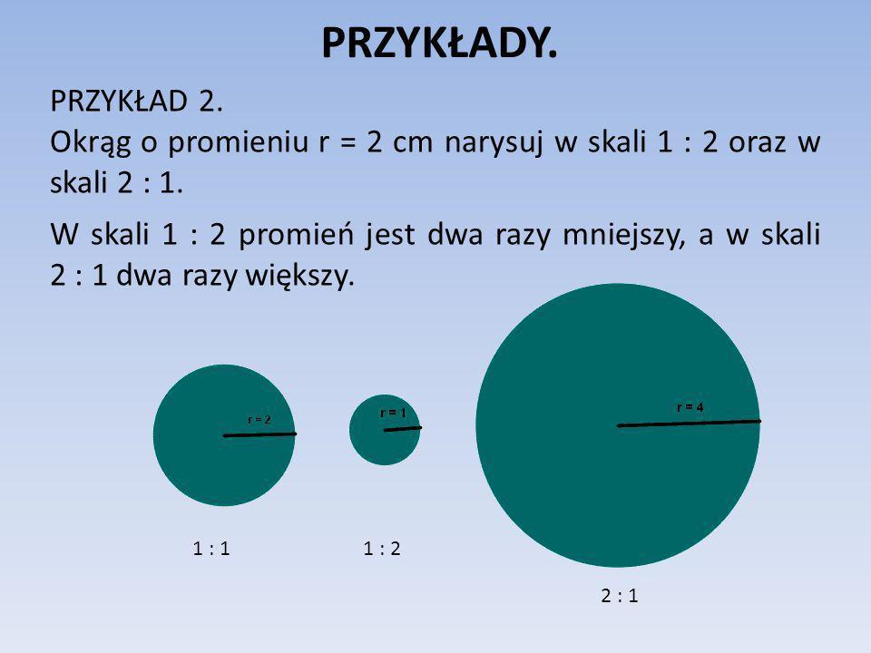 PRZYKŁADY. PRZYKŁAD 2. Okrąg o promieniu r = 2 cm narysuj w skali 1 : 2 oraz w skali 2 : 1. W skali 1 : 2 promień jest dwa razy mniejszy, a w skali 2