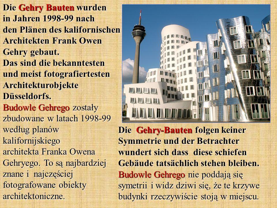 Die Gehry-Bauten folgen keiner Symmetrie und der Betrachter wundert sich dass diese schiefen Gebäude tatsächlich stehen bleiben. Budowle Gehrego nie p