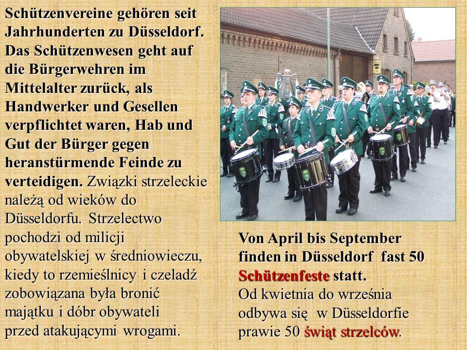 Schützenvereine gehören seit Jahrhunderten zu Düsseldorf. Das Schützenwesen geht auf die Bürgerwehren im Mittelalter zurück, als Handwerker und Gesell