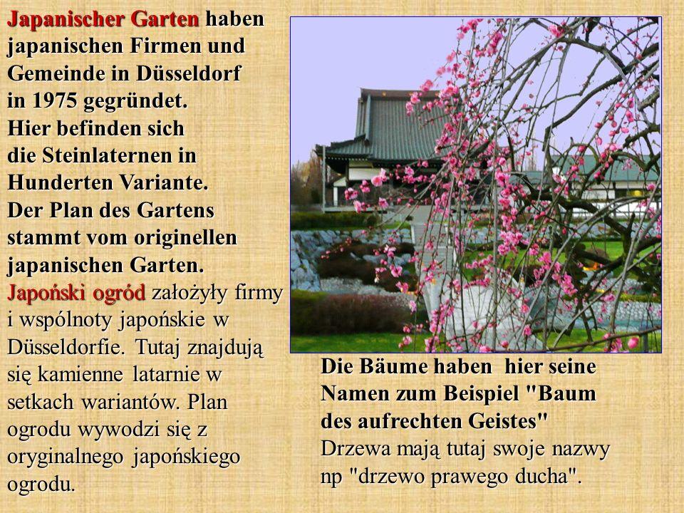 Japanischer Garten haben japanischen Firmen und Gemeinde in Düsseldorf in 1975 gegründet. Hier befinden sich die Steinlaternen in Hunderten Variante.