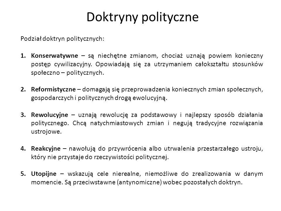Doktryny polityczne Podział doktryn politycznych: 1.Konserwatywne – są niechętne zmianom, chociaż uznają powiem konieczny postęp cywilizacyjny. Opowia