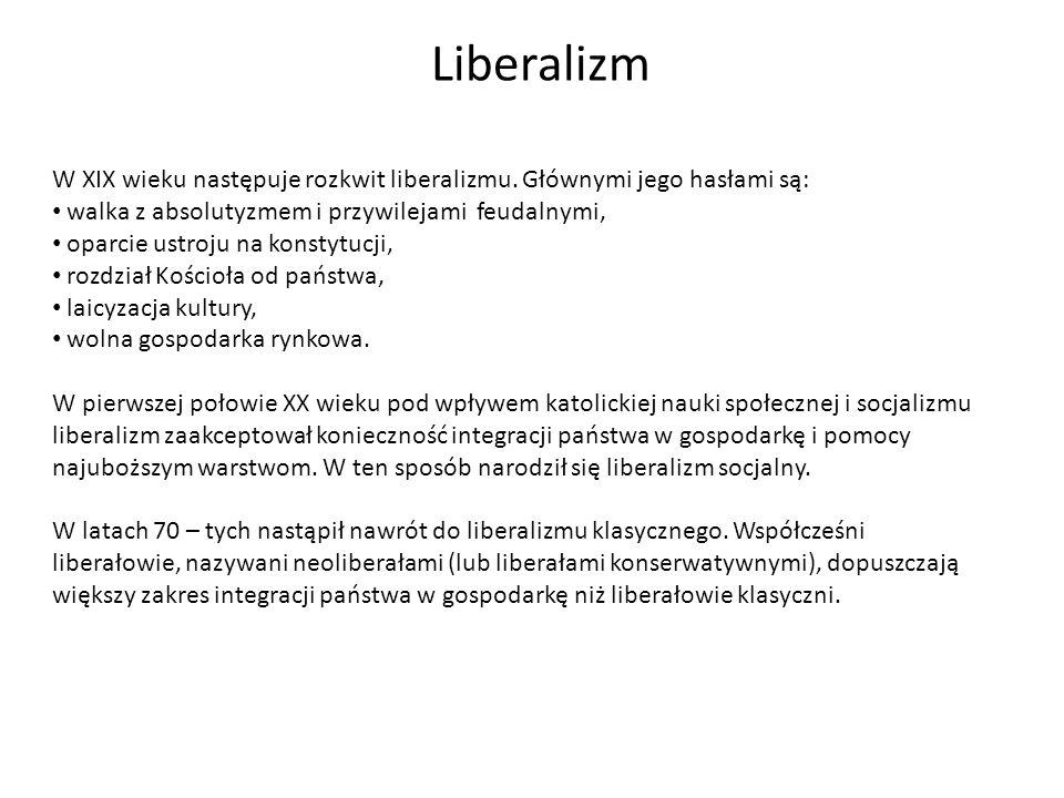 Liberalizm W XIX wieku następuje rozkwit liberalizmu. Głównymi jego hasłami są: walka z absolutyzmem i przywilejami feudalnymi, oparcie ustroju na kon