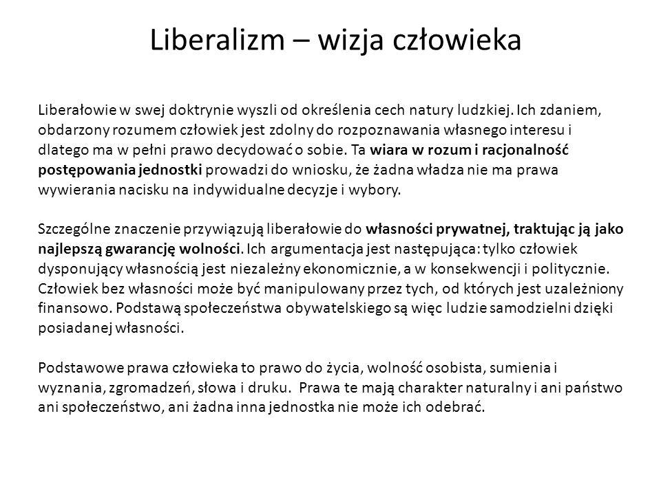 Liberalizm – wizja człowieka Liberałowie w swej doktrynie wyszli od określenia cech natury ludzkiej. Ich zdaniem, obdarzony rozumem człowiek jest zdol