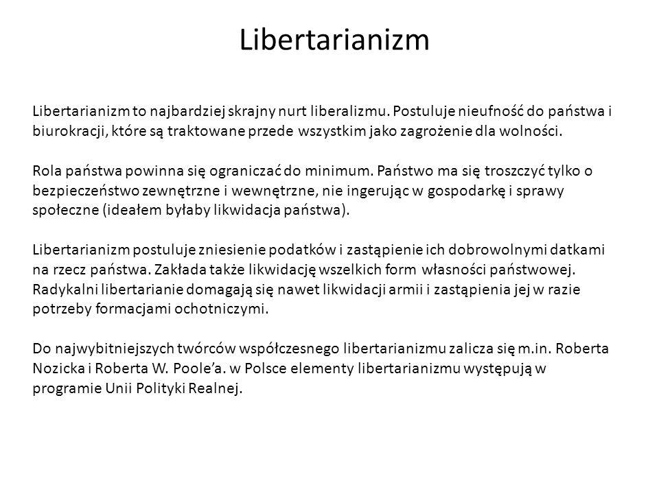 Libertarianizm Libertarianizm to najbardziej skrajny nurt liberalizmu. Postuluje nieufność do państwa i biurokracji, które są traktowane przede wszyst