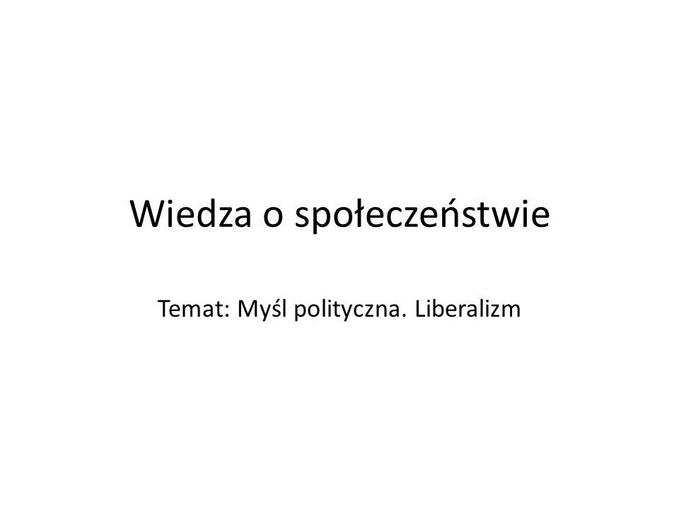 Wiedza o społeczeństwie Temat: Myśl polityczna. Liberalizm