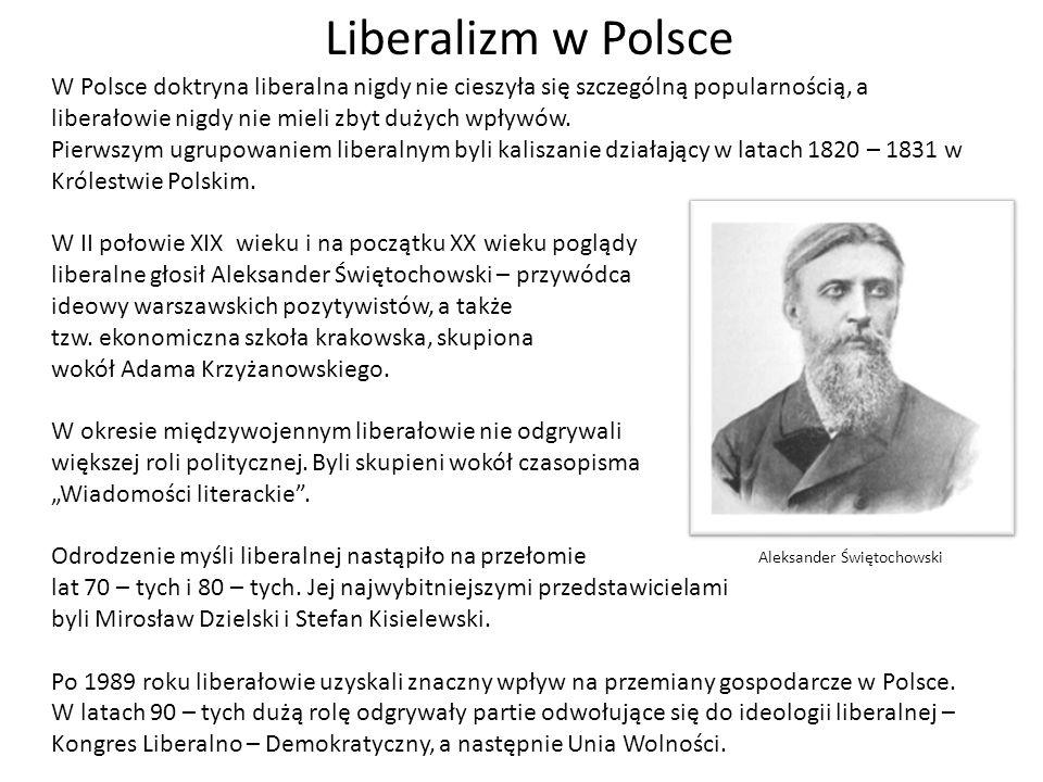 Liberalizm w Polsce W Polsce doktryna liberalna nigdy nie cieszyła się szczególną popularnością, a liberałowie nigdy nie mieli zbyt dużych wpływów. Pi