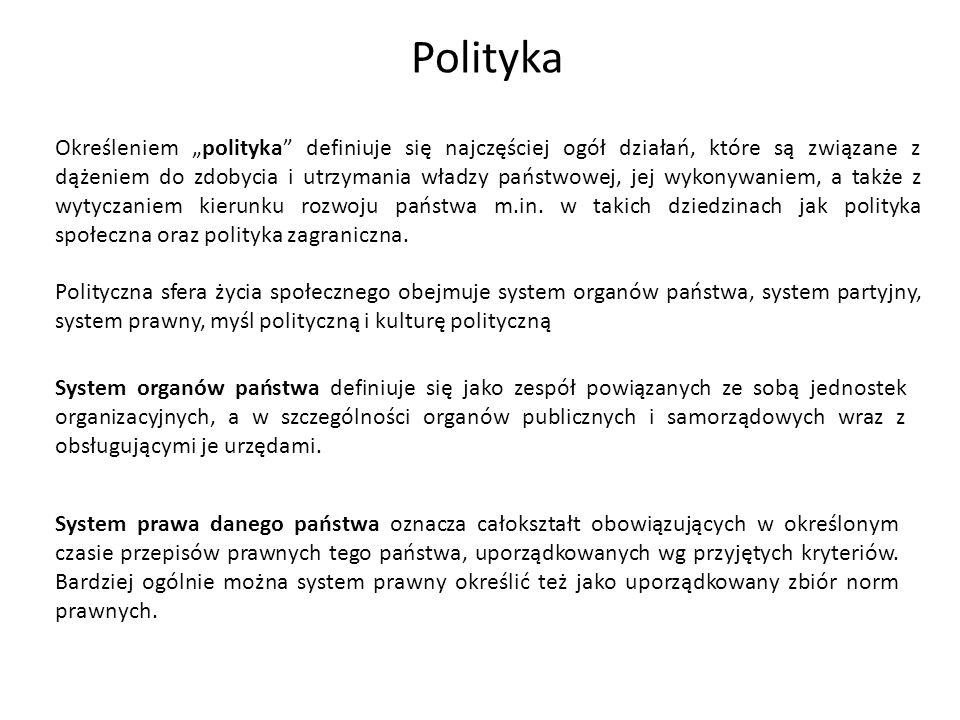 Określeniem polityka definiuje się najczęściej ogół działań, które są związane z dążeniem do zdobycia i utrzymania władzy państwowej, jej wykonywaniem