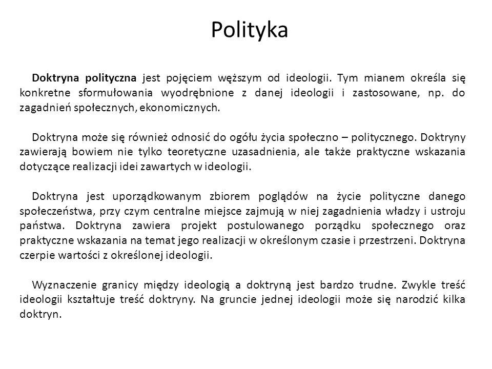 Doktryna polityczna jest pojęciem węższym od ideologii. Tym mianem określa się konkretne sformułowania wyodrębnione z danej ideologii i zastosowane, n