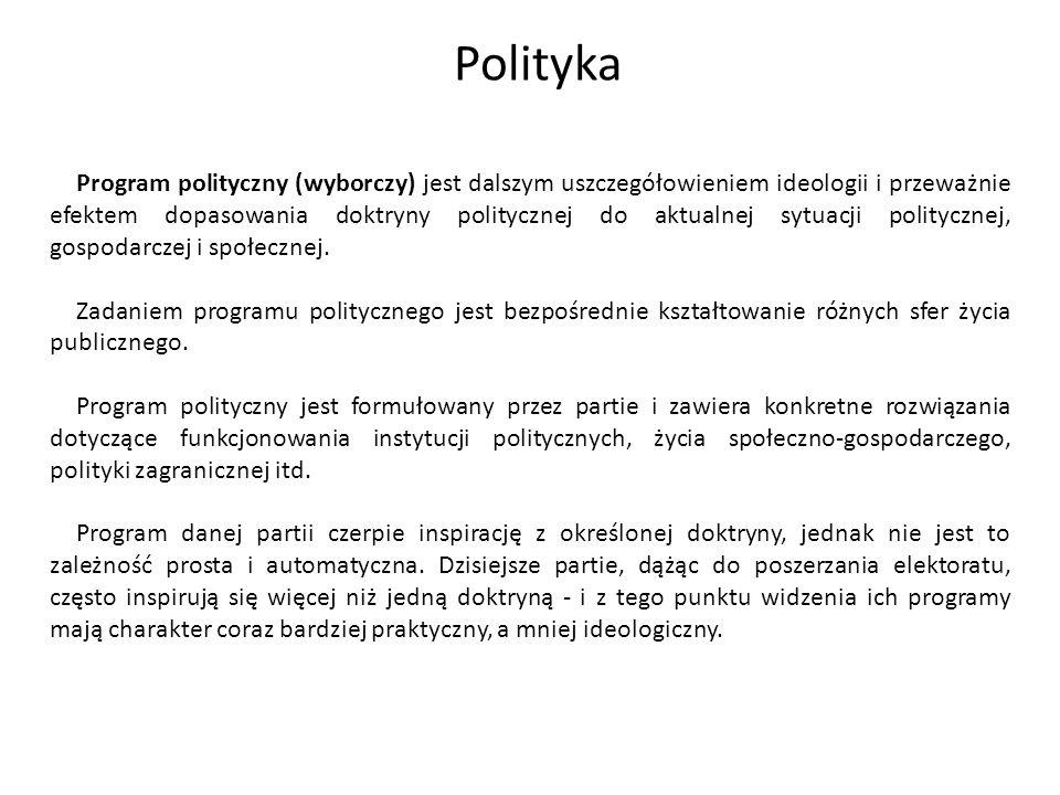 Program polityczny (wyborczy) jest dalszym uszczegółowieniem ideologii i przeważnie efektem dopasowania doktryny politycznej do aktualnej sytuacji pol