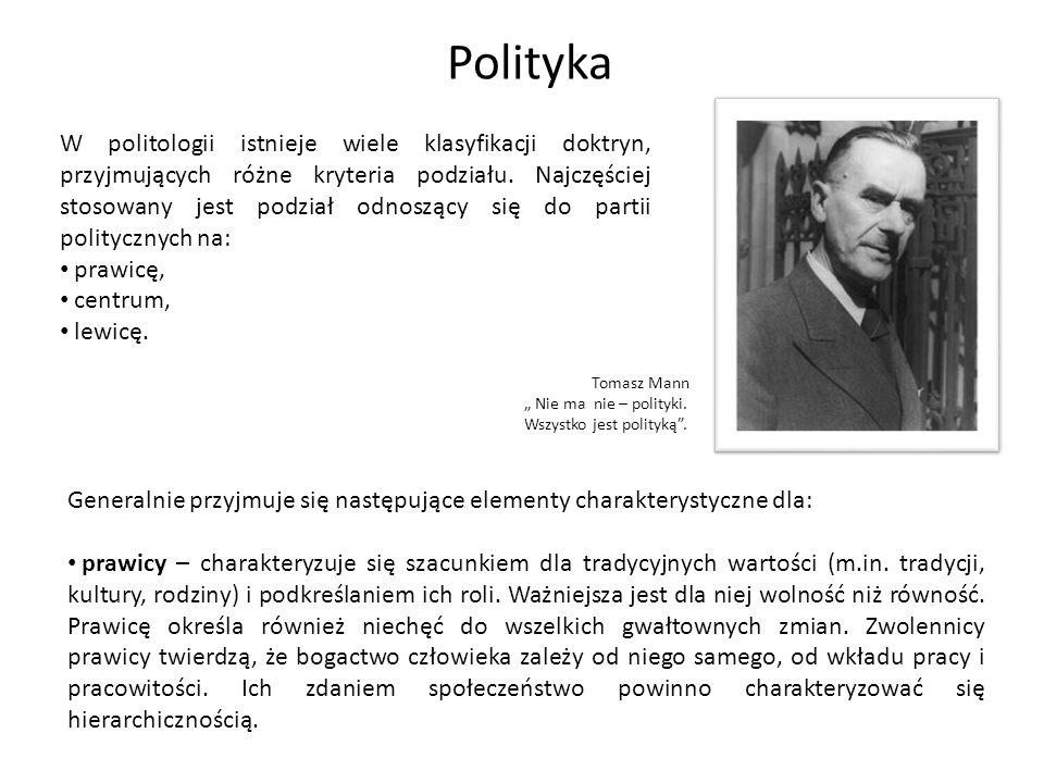W politologii istnieje wiele klasyfikacji doktryn, przyjmujących różne kryteria podziału. Najczęściej stosowany jest podział odnoszący się do partii p