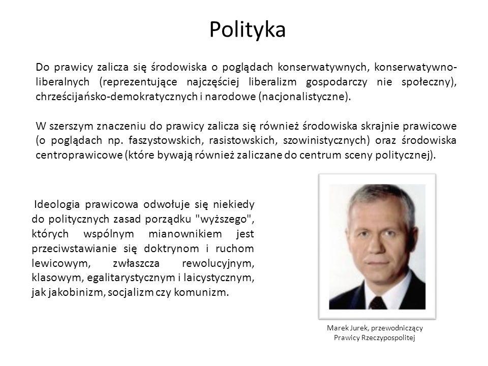 Polityka centrum – cechuje się dążeniem do utrzymania równowagi między interesami różnych grup społecznych.